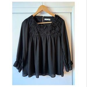 Black floral flowy blouse